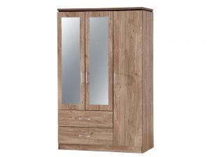 Charlton Oak 3 Door 2 Drw Mirrored Wardrobe
